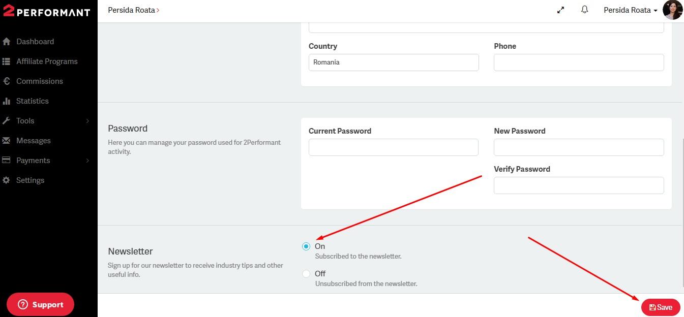 screenshot signup - cum sa te abonezi la newsletter 2Performant